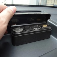 Wholse Black Auto Car Coin Pocket Cases Storage Boxes Plastic Holder Organizer