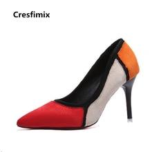 Cresfimix women fashion comfotable spring & summer slip on pattern high heel shoes lady cute street multi color high heels c2674