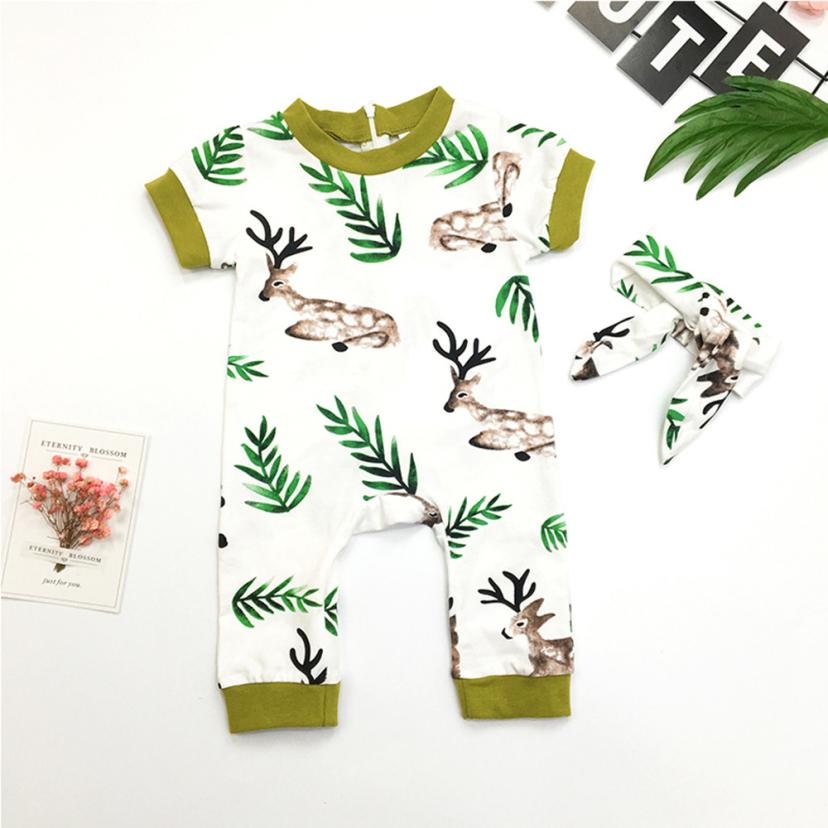 short sleeve Jumpsuits Baby Girl Cartoon Deer Printing Floral Romper with Headband Clothing Sets Newborn baby Infant clothes 3pcs set newborn infant baby boy girl clothes 2017 summer short sleeve leopard floral romper bodysuit headband shoes outfits