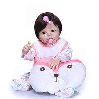Reborn baby toy dolls 2357cm full silicone reborn girl baby doll NPK xmas gift toys bebes reborn com corpo de silicone menina