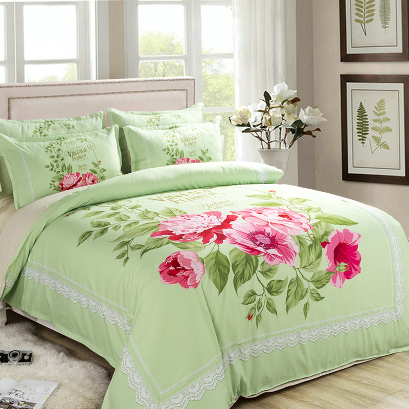 cotton floral bedding set king queen twin lily red leaves green comforter duvet quilt cover single