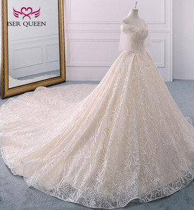 Image 2 - Long Royal Train Vintage Lace Wedding dress 2020 Short Flare Sleeve Pearls Beads Embroidery Ball Gown Wedding dresses WX0121