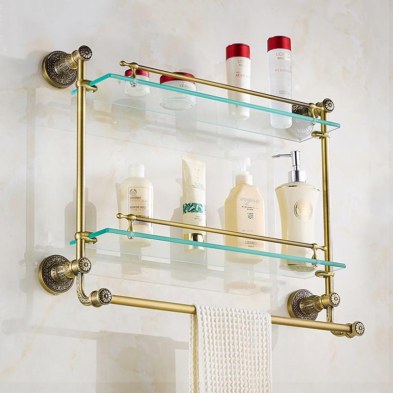 Bathroom Shelves Tempered Glass Shower Shelf Single Bar Antique ...