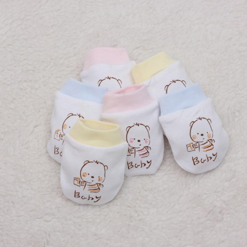 3 pairs 0-6 miesięcy 100% bawełna dziecko dowód rękawice rękawice noworodków wygodne oddychać swobodnie rękawiczki noworodka dziecko rękawiczki B020