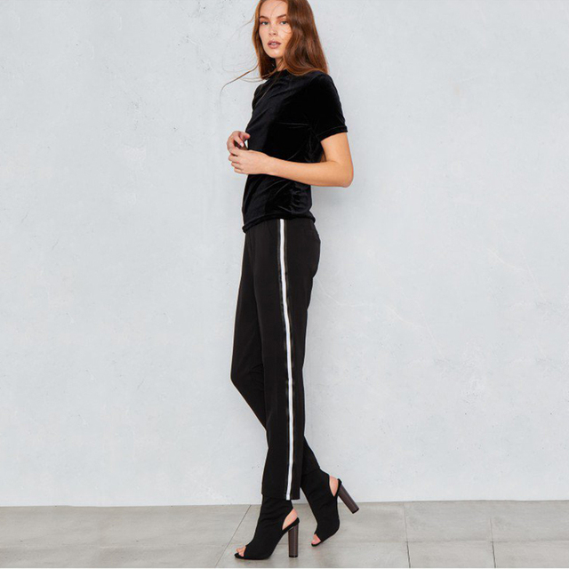 High waist white side stripe active pants women street chic black casual preppy trousers ladies stylish workout tapered pants