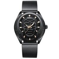 Business steel quartz men's watch skull hollow retro waterproof wristwatch