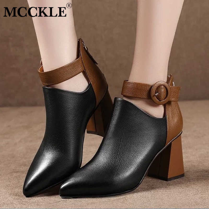 MCCKLE/Модные женские осенние ботильоны на платформе и высоком блочном каблуке, женские офисные туфли с острым носком на молнии с пряжкой, женская повседневная обувь