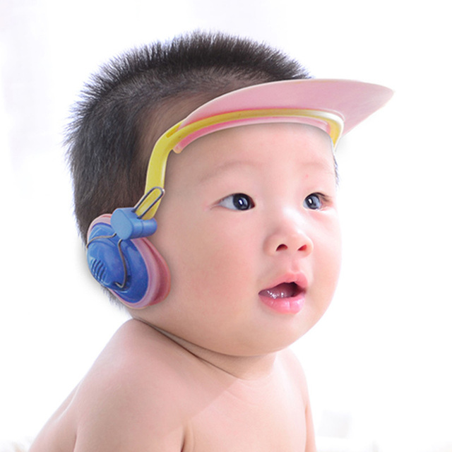 Earmuffs baby shampoo bath shampoo cap hat infant Child waterproof ear  shower cap can be adjusted visor for swimming baby hat 964913c4e61