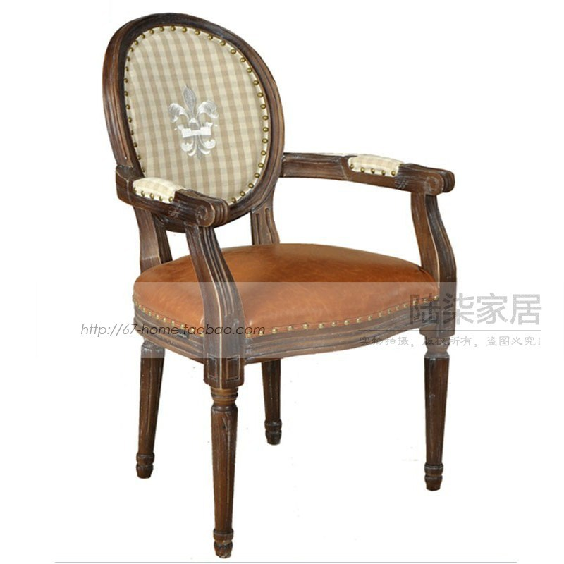 European And American Vintage French Dining Chairs Wood Sofa Armrest Desk  Chair Pibu Spell Color Soft ...