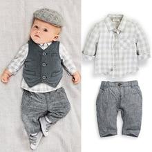 2016 New Arrive spring and autumn boy child British long-sleeved plaid shirt + vest +pants Gentlemen boy baby clothing set