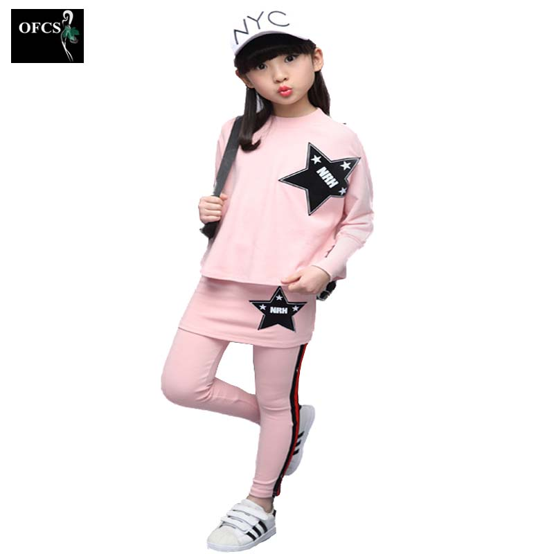 OFCS Brand Kids Clothes Long-Sleeved Suit Girls Clothes Pentacle Multicolor Sport Piece Suit Children Family Clothing Sets3-15 kids clothing set girls denim jacket jeans suit children sports clothing two piece long sleeved coat suit teenage girl clothes