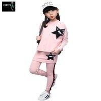 OFCS Brand Kids Clothes Long Sleeved Suit Girls Clothes Pentacle Multicolor Sport Piece Suit Children