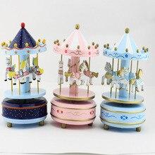 Electronic Vintage Blue Pink Wooden Carousel Music Box caixa de musica Birthday Christmas Children Kids Craft Gift Free Shipping