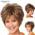 Синтетические волосы Пушистые женщины короткие Парики Парик блондинки эльфа вырезать прическа с челкой дешевые парики из натуральных волос Peluca плутон высокое качество