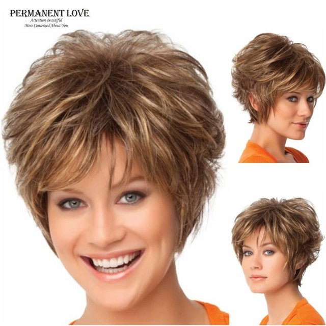 Synthetic hair Fluffy women short Wigs blonde Wig pixie cut hairstyle with bangs cheap hair wigs Peluca  peruca high quality