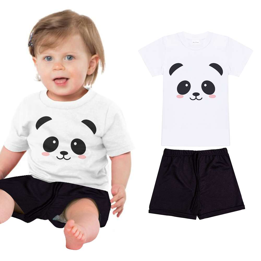 New Summer Infant Outfit Newborn Toddler Baby Girls Clothes Panda T Shirt+Pants 2pcs Set kids cartoon animal print 1 2 3 4 5 6 Y fashion 2pcs set newborn baby girls jumpsuit toddler girls flower pattern outfit clothes romper bodysuit pants