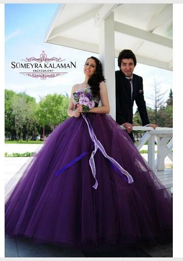 Sweetheart Purple Wedding Dresses With Bling Beaded Top Ball Gown Wedding  Dress Plus Size Vestido Noiva