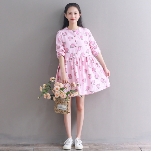 New Autumn 2018 Artistic Print Pink Cotton And Linen Women Dress High Waist Vintage Long Sleeve Casual Dress Women