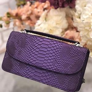 Image 2 - XMESSUN 2020 hakiki Python cilt bayan zincir çapraz vücut çanta yılan deri çanta kadın el çantası