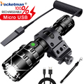 50000 Lumen LED Tactische Zaklamp Ultra Bright USB Oplaadbare Scout licht Fakkel Jacht licht Waterdicht 5 Modi door 1*18650