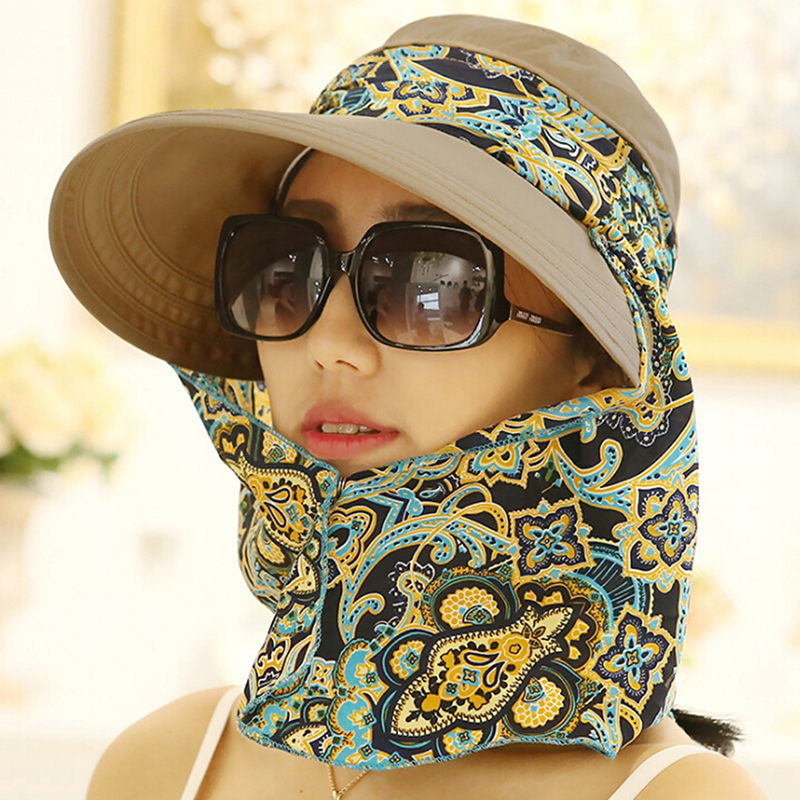 HTB1yMFtNbvpK1RjSZFqq6AXUVXaB - Fashion Women Summer Outdoor Riding Anti-UV Sun Hat Beach Foldable Sunscreen Floral Print Caps Neck Face Wide Brim Hat