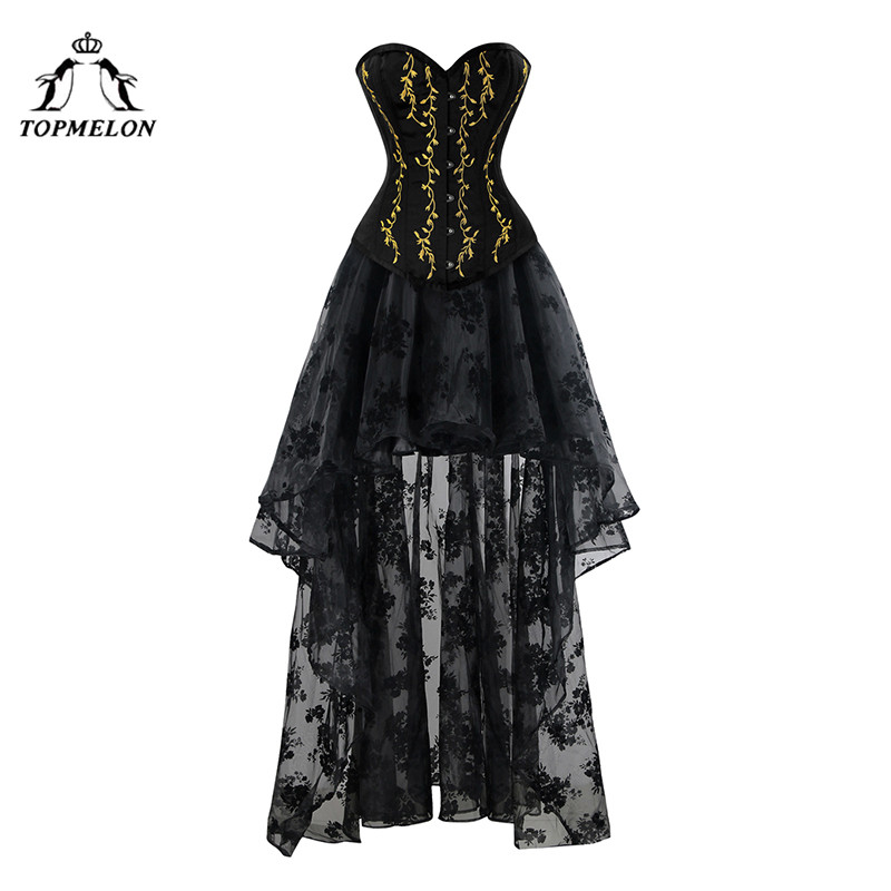 TOPMELON Corset Dress Steampunk Bustier Gothic Women Embroidery Lace Tulle Dress Floral Silky Party Dress Maxi Ball Gown
