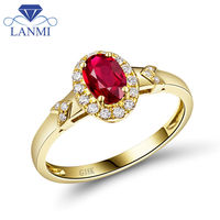 New Arrival Beautiful 18Kt Yellow Gold Natural Ruby Ring Oval 4x6mm Natural Diamond Wedding Jewelry WU291E