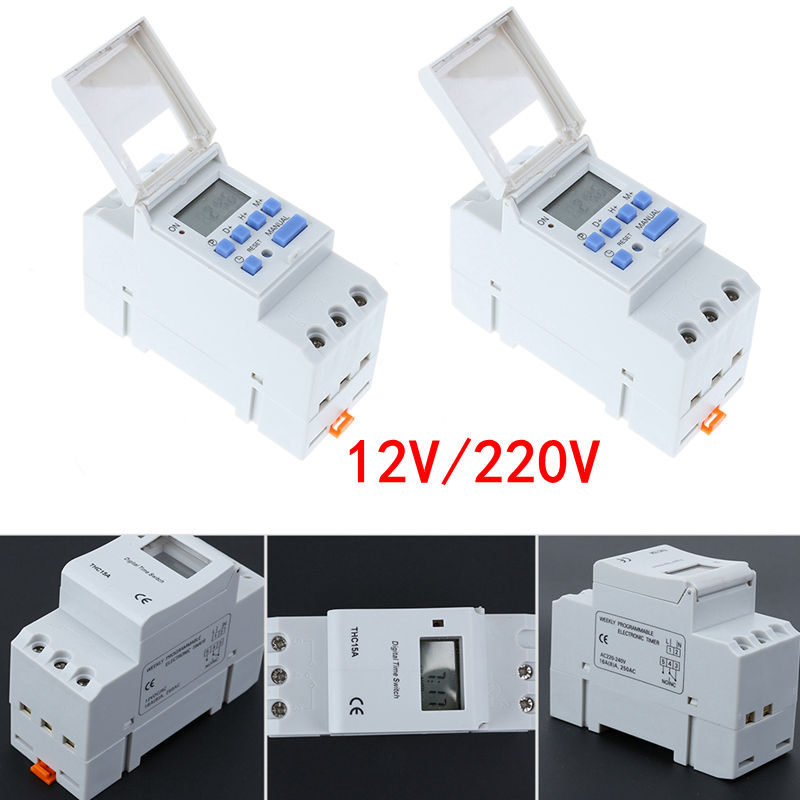12V/220V AC 50-60Hz Electronic Switch Weekly Programmable LCD Digital Display Timer Switch Relay Timer Controller Homeuse Tools electronic light switch weekly programmable timer digital switch relay timer controller for controlling road lamp neon light
