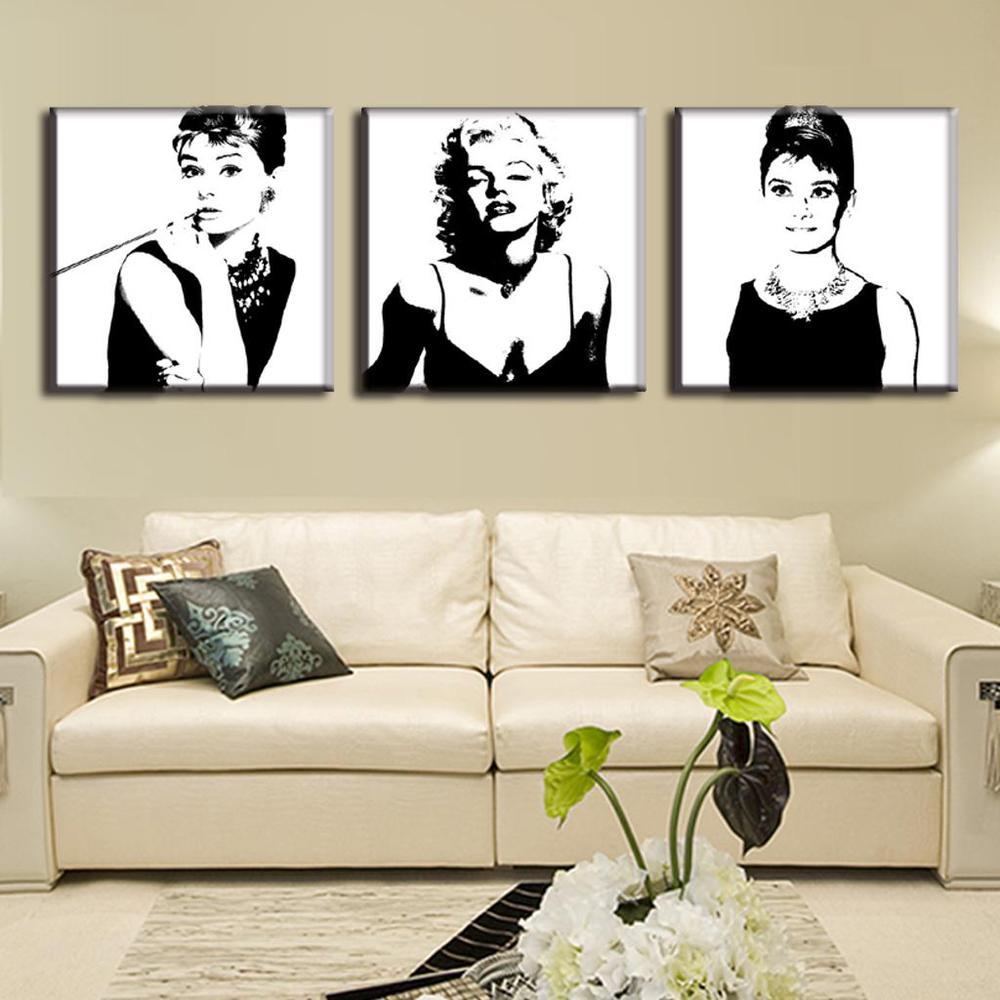 3 piezas Vintage póster retrato pintura al óleo lienzo pared arte - Decoración del hogar