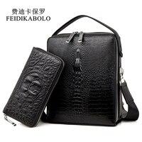 FEIDIKABOLO Brand Men Bag Shoulder Bags Double Zipper Trunk Leather Handbags Designer Handbags High Quality Men