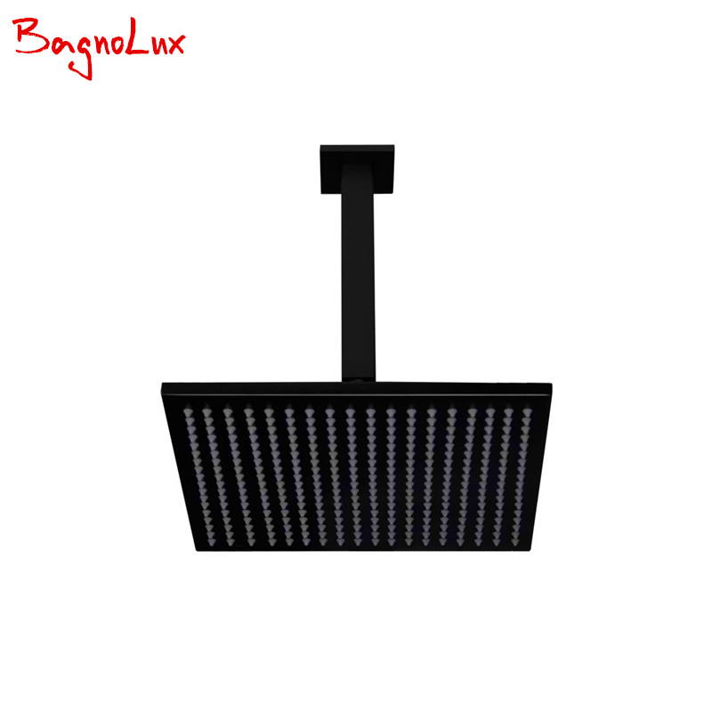 BagnoLux Wels 8 10 12 quot Solid Brass Square Shower Head With Gooseneck Ceiling Arm Matt Black Rainfall Rose With Cubic Shower Set in Shower Heads from Home Improvement