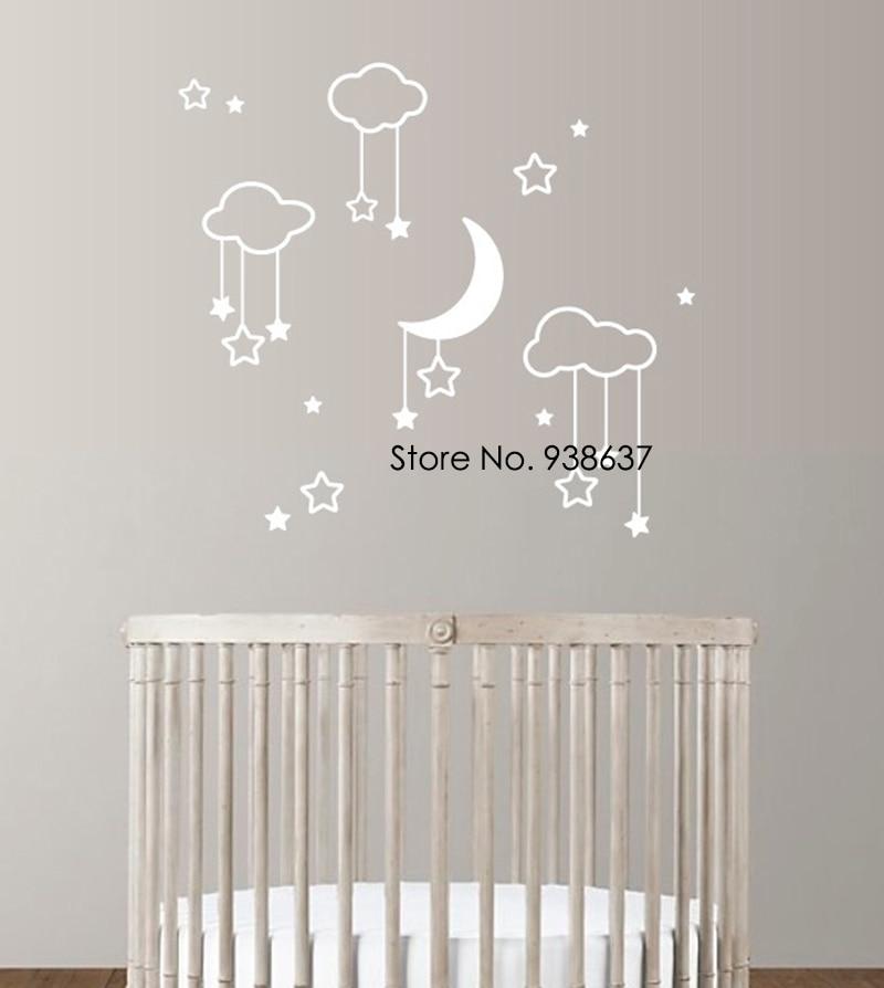 Moon Stars Baby Nursery Wall Stickers For Bedroom Clouds Vinyl Wall Decals Kids Room Waterproof Wall Home Art Decor Mural ZA890