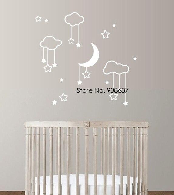 Luna estrellas beb nursery adhesivos de pared para for Adhesivos pared dormitorio