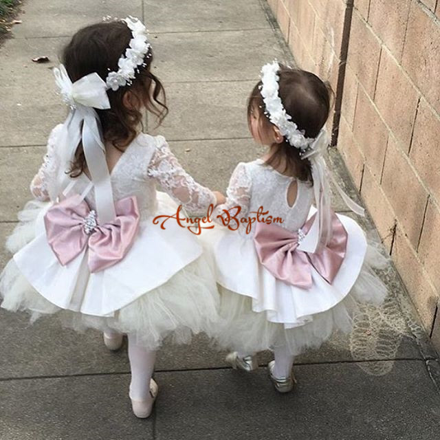 Cute Cute white/pink long sleeves flower girl dresses with bow crystals sash lovely kids wedding birthday party ball gowns