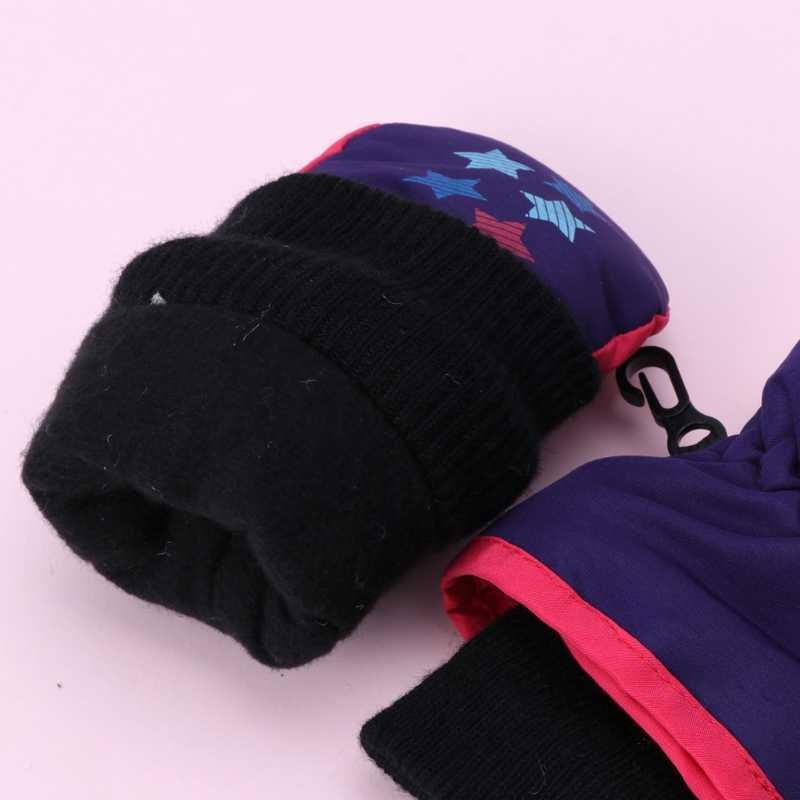เด็กฤดูหนาวนวมกันน้ำเด็กผู้หญิงเด็กเด็กหนาถุงมือสกีอุ่น