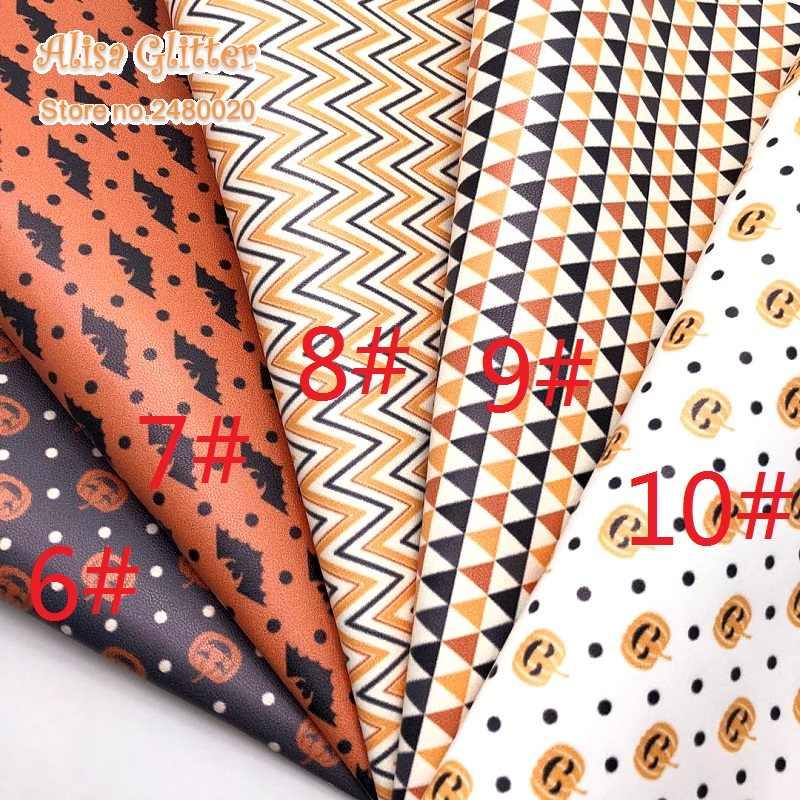 1 Pcs A4 Ukuran 21X29 Cm Alisa Glitter Pu Kulit dicetak Titik Bintang Kelelawar Garis Labu Kulit untuk Halloween untuk DIY E20