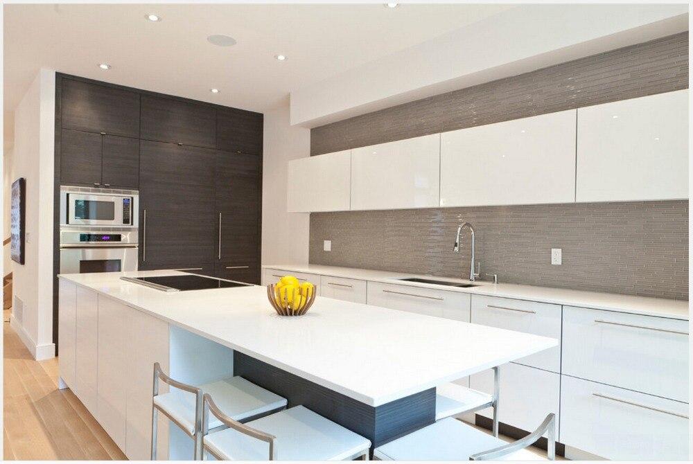 2017 Diseño Popular Blanco alto brillo lacado gabinetes de cocina ...