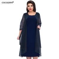 COCOEPPS Mesh Autumn Women Dress Big Size 2018 New Winter Plus Size Office Dress Dark Blue