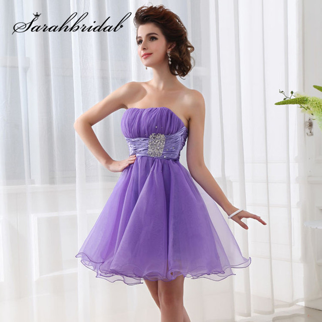 Cheap In Stock Short Graduation Homecoming Dresses Strapless Black Lilac  Organza Lace up Back A Line Sweet Mini Prom Party Gowns e155cca4f33a