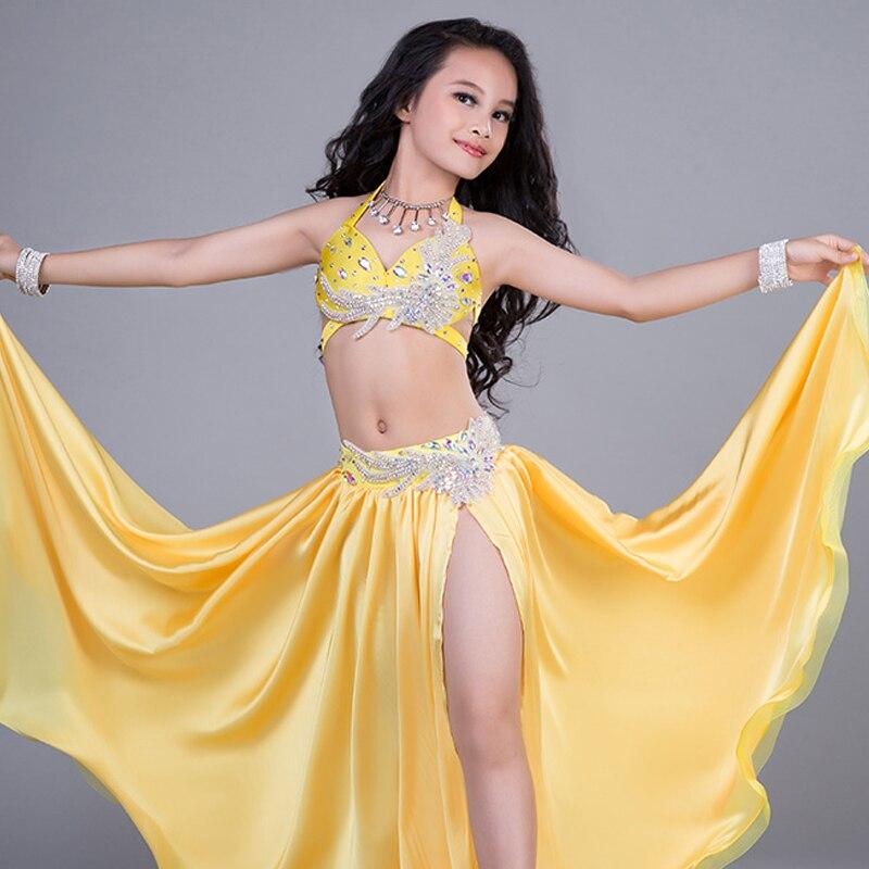 Mode strass Satin Sexy danse du ventre soutien-gorge jupe de poche 2 pièces ensemble pour petite fille/enfants costume performance porte RT188