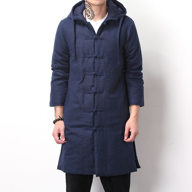 Chinese style winter vintage wadded jacket parka medium-long Cotton and linen plate buttons Hooded Jacket thicken outerwear coat
