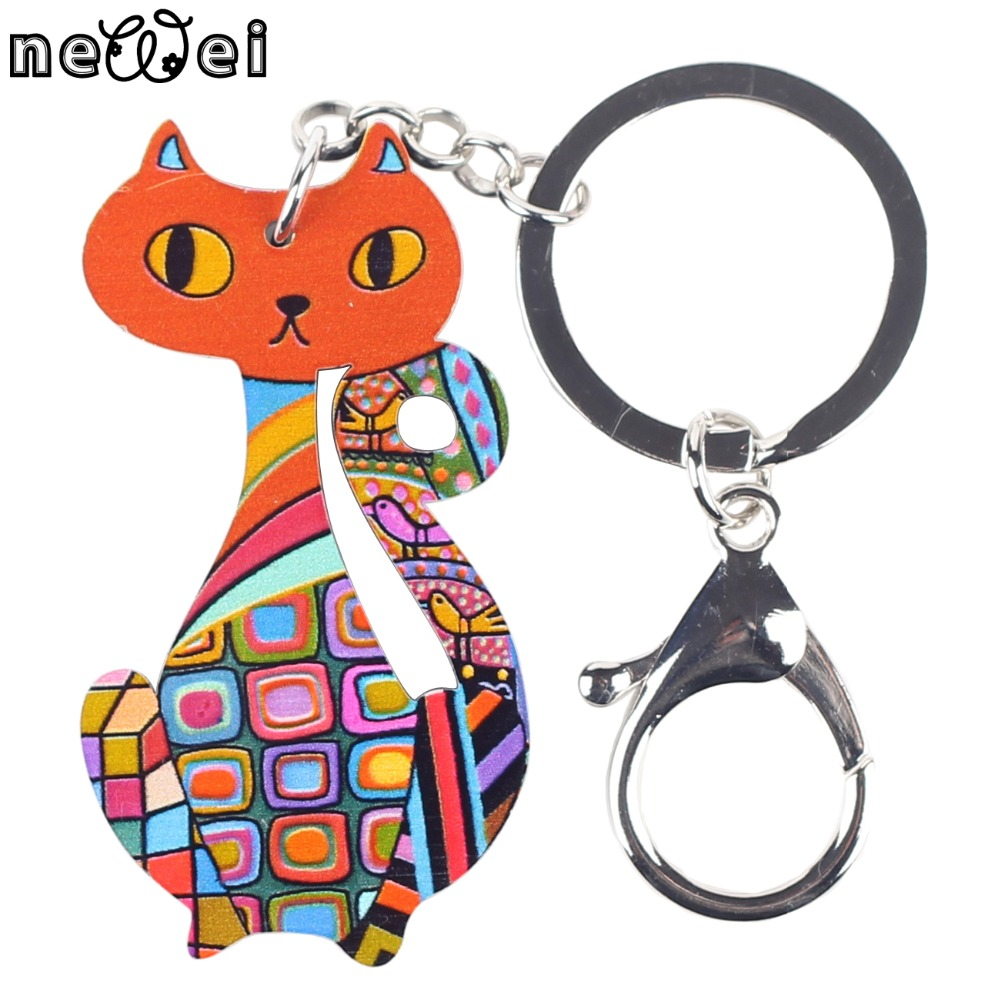 Bonsny Terbaru Multi Cat Marvel Acrylic Gantungan kunci Untuk Kunci Wanita  Gadis Dekoratif Keychain Charm Pendant Perhiasan Aceessories b68e66db42f3