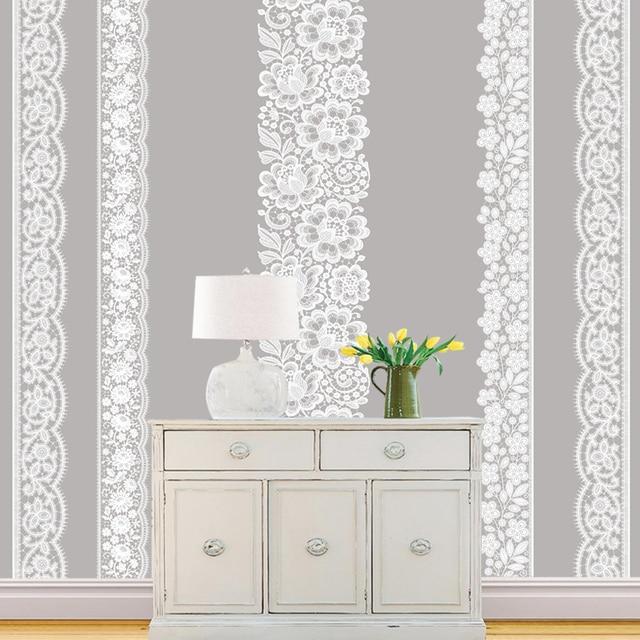 Warmes Grau tuya kunst vintage weiß spitze streifen patten warmes grau
