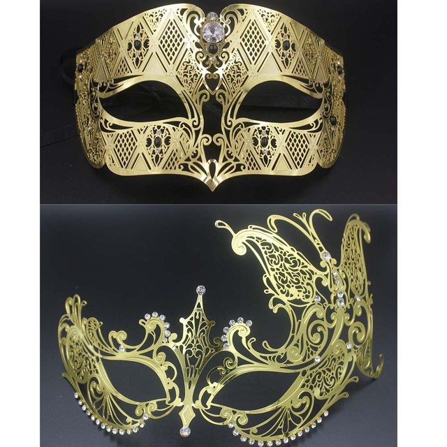 49a55cdfc03e Black Gold Masquerade Couple Mask Lot Butterfly Mask Costume Prom Ball  Metal Venetian Men Women Costume