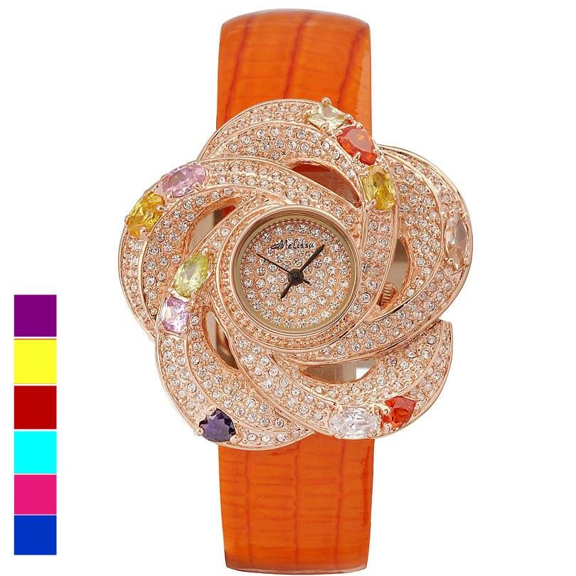 Melissa Lady Women's Watch Hours Japan Quartz Fashion Dress Leather Bracelet Luxury Candy Crystal Rose Flower Girl Gift Box