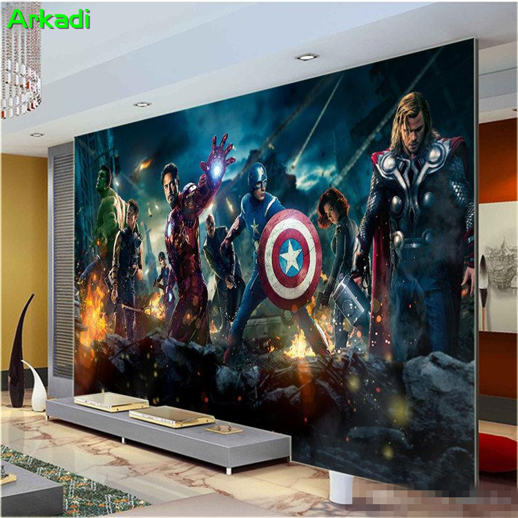 Children's Room Bedroom Wallpaper Modern Living Room TV Background Bar Mural Avenger League Anime Character Any Size