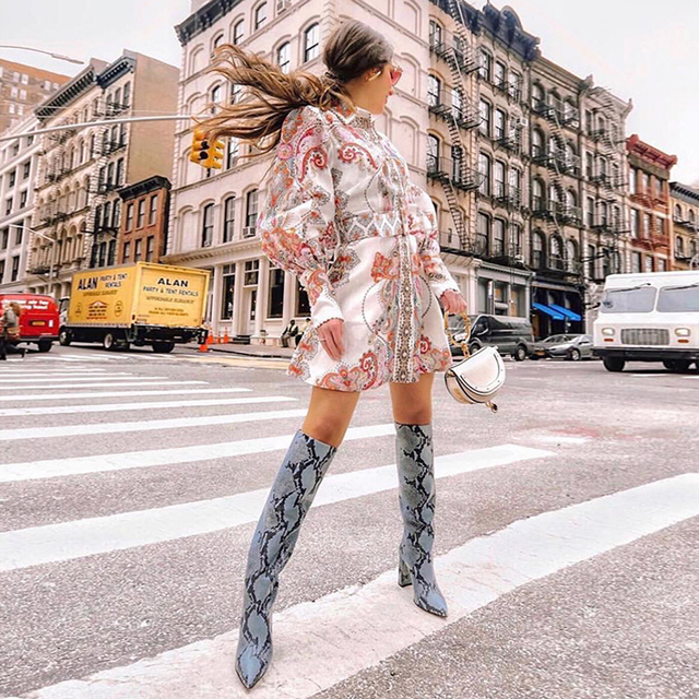 [LIVIVIO] Vintage Floral Print Lantern Long Sleeve Mini Dresses Female Match Belt Waisted 2019 Autumn Clothes for Women Fashion 1