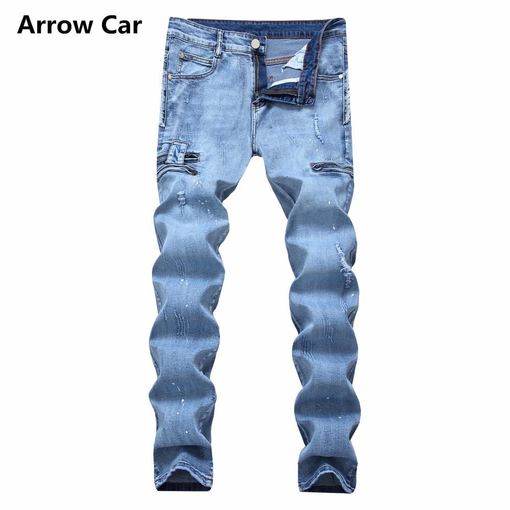 Flèche voiture mode hommes Jeans haute élastique droite Slim encre décorative Zipper Jeans hommes déchiré Stretch Jeans hommes