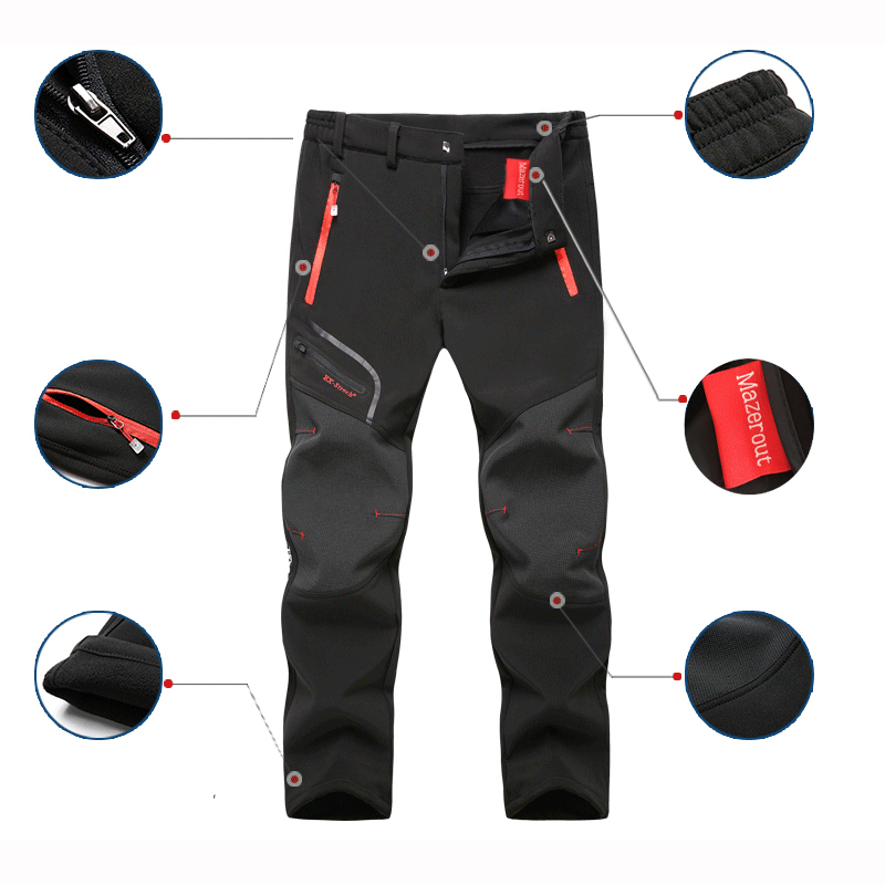 2019 New Hiking pants man waterproof softshell winter Outdoor Trousers Sports Camping Trekking cycling ski fleece Pants Oversize
