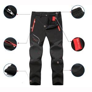 Image 3 - Pantalones de senderismo para hombre, impermeables, softshell, para invierno, exteriores, deportes, Camping, Trekking, ciclismo, pantalones de lana de gran tamaño 6XL